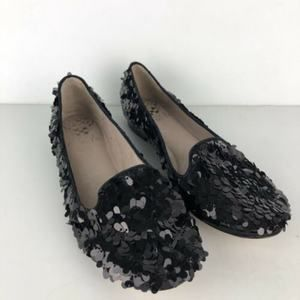 Vince Camuto Loris Sequin Loafers Black Flat 6 1/2